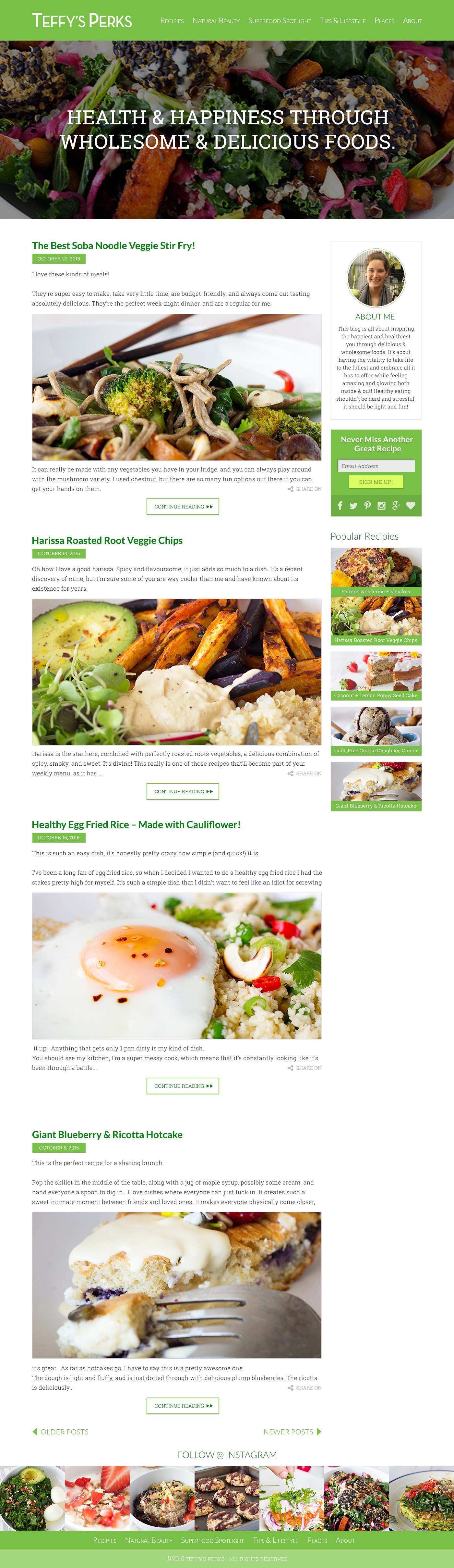 Teffy's Perks Homepage Design