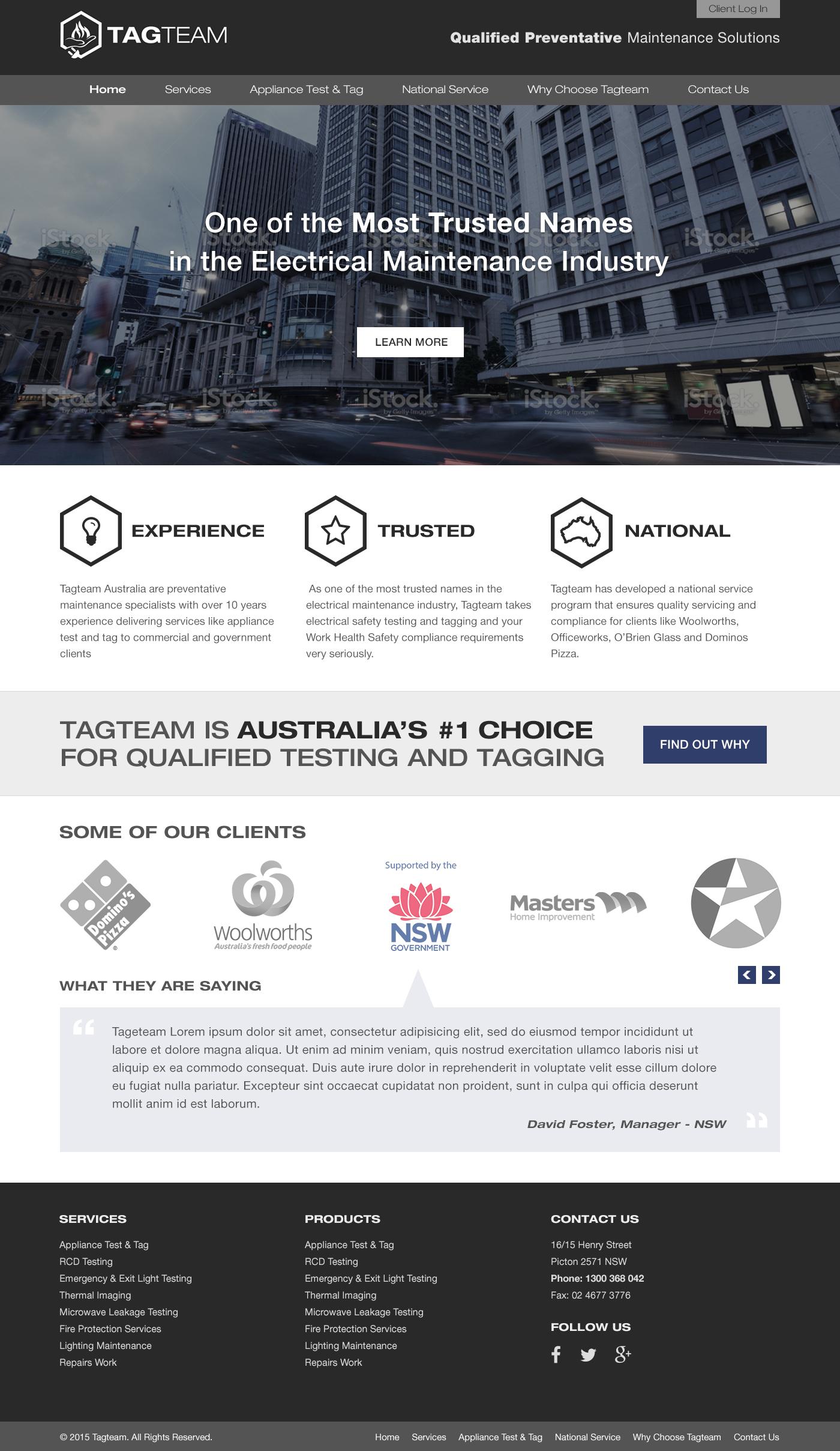 Tagteam Homepage Design